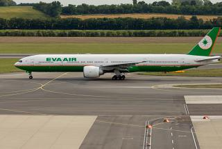 The Boeing 777-300ER airline EVA Air at the airport Vienna Schwechat