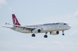 Airbus A321 of Turkish Airlines before landing at Vnukovo airport