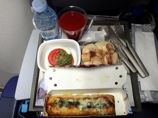 The second meal on a flight Amsterdam Houston KLM