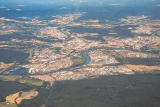 Aerial view of the city of Aschaffenburg on the river Main