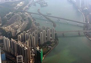 In flight over Hong Kong before boarding