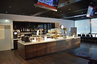 In the business lounge, Swiss Lounge D at the Zurich airport