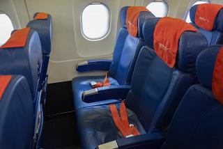 "Seat economy class in the airplane of the Airbus A321 Aeroflot VP-BWP ""M. Mussorgsky"""