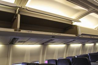 The Luggage shelf in the plane Boeing-737-300