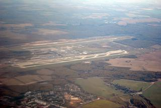 Вид из иллюминатора на аэропорт Москва Домодедово