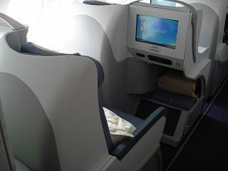 The chair of the business class in the Airbus A380 of China Southern Airlines