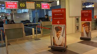Check for flights first and business class Emirates airlines at Domodedovo airport