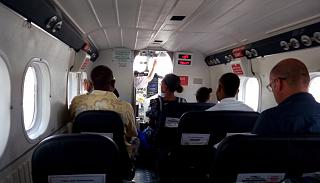 The passenger cabin of the Bombardier DHC-6-300 Twin Otter operated by Air Vanuatu