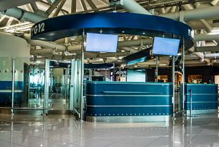 The gate in sector G terminal 3 of Rome airport Fiumicino