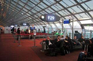 The gates in the F concourse of terminal 2 of Paris airport Charles de Gaulle