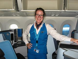 Stewardess KLM after performing the flight Amsterdam-Toronto