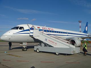 Embraer 195LR Belavia airline in Minsk airport