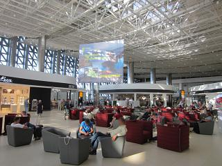 The waiting area is in a clean area of the airport Simferopol