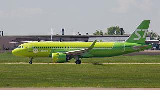Airbus A320 of S7 Airlines at the airport of Irkutsk