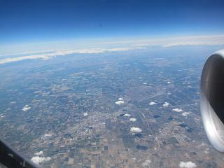 In flight over Canada