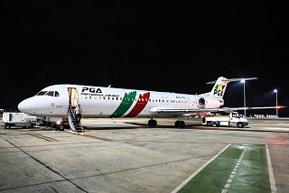 The Fokker 100 aircraft of the airline company PGA Portugalia Airlines at the airport of Valencia