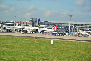 Planes at the gates at the airport in Frankfurt