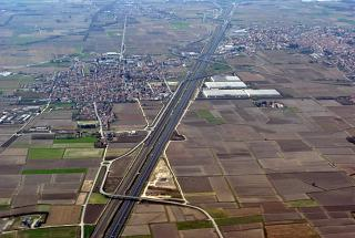 The city of Romentino and highway A4 Torino - Trieste