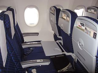 The economy class cabin on the Boeing-737-900 airline El al