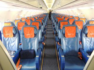 Salon of economy class in Airbus A320 of Aeroflot