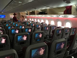 Salon of economy class in the Boeing-787-8 Qatar Airways