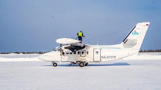 Самолет Л-410 авиакомпании СиЛА в аэропорту Усть-Илимск