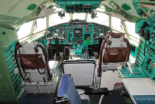 The cockpit in Tu-154B-2 airplane