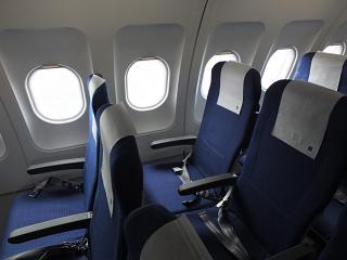 The passenger seats in the plane, an Airbus A320 SAS