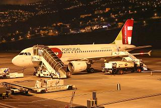 The Airbus A319 TAP Portugal airport Funchal on Madeira island