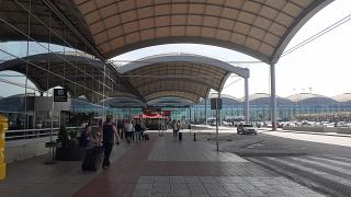 At the entrance to the passenger terminal of Alicante airport