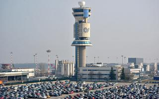 The control tower at the airport of Milan Malpensa