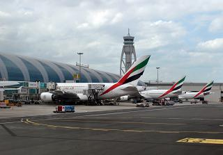 Planes from Emirates terminal at the Dubai airport