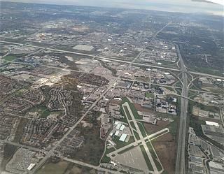 The suburbs of Toronto before landing at Pearson