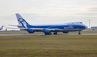 A cargo airliner Boeing 747-8F AirBridgeCargo airlines at Irkutsk airport