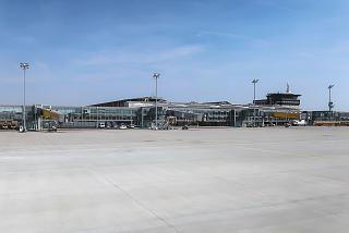 View from the apron to the passenger terminal of Leipzig-Halle Airport