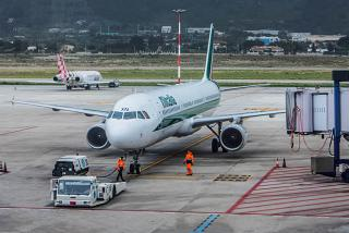 Airbus A321 of Alitalia at the airport of Palermo