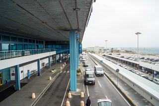 The entrance to the departure area at the airport of Palermo