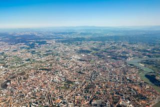 Porto city view on take-off