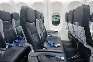 Passenger seats in a Boeing 737-800 plane Pobeda Airlines