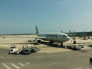 The Airbus A330-300 American airlines in Barcelona airport