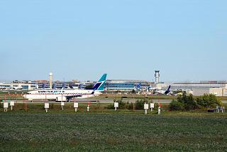 A view of the Toronto Pearson international airport from the end of the runway