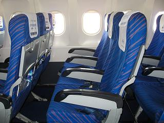 The passenger seats in the economy class in an Airbus A320 China Southern Airlines