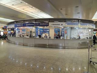 The booking office at the terminal D of airport Moscow Sheremetyevo