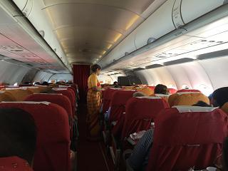 The passenger cabin of the Airbus A321 operated by Air India