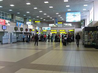 The reception area is on the flight at the airport of Surgut