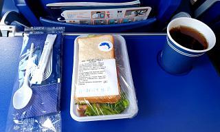 """Sandwich with salmon - flight meals on the flight Yuzhno-Sakhalinsk - Khabarovsk airline """"Aurora"""""""