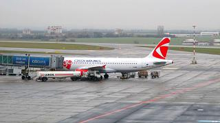 Airbus A320 of Czech airlines at Prague airport Vaclav Havel