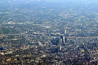 Views of Central London before landing at Heathrow airport