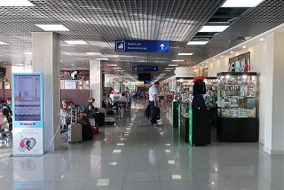 Clean area of domestic departures at Tomsk airport