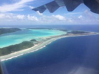 The view of the airport of Bora Bora before landing